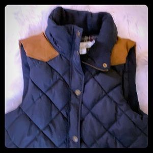 H and M puff vest navy with brown suede detail